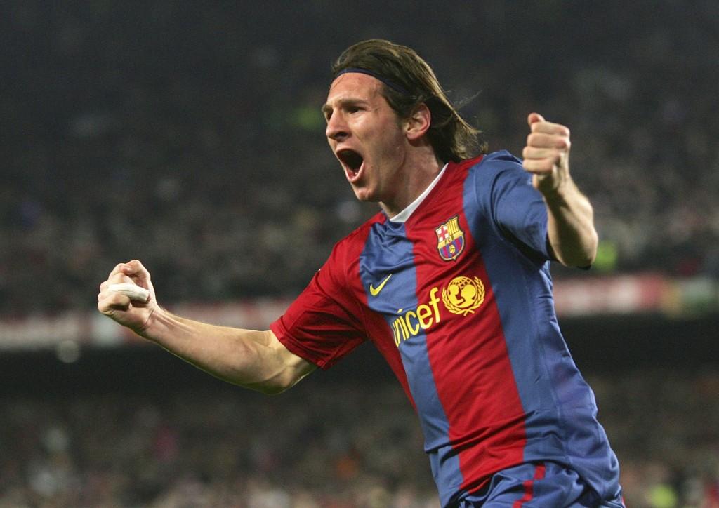 Messi e a camisa do Barça com a marca da UNICEF