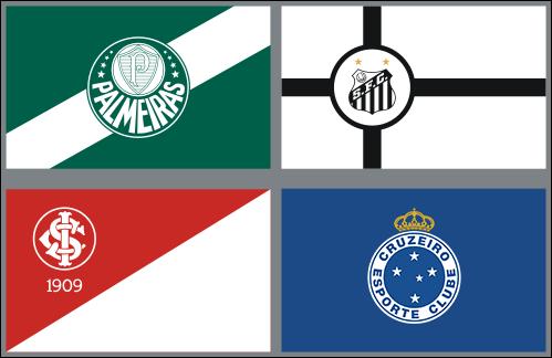 Bandeiras oficias: Palmeiras, Santos, Inter e Cruzeiro.