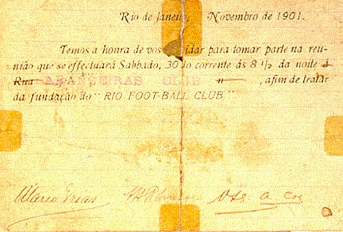 Postal (verso) para fundação do Rio Team.