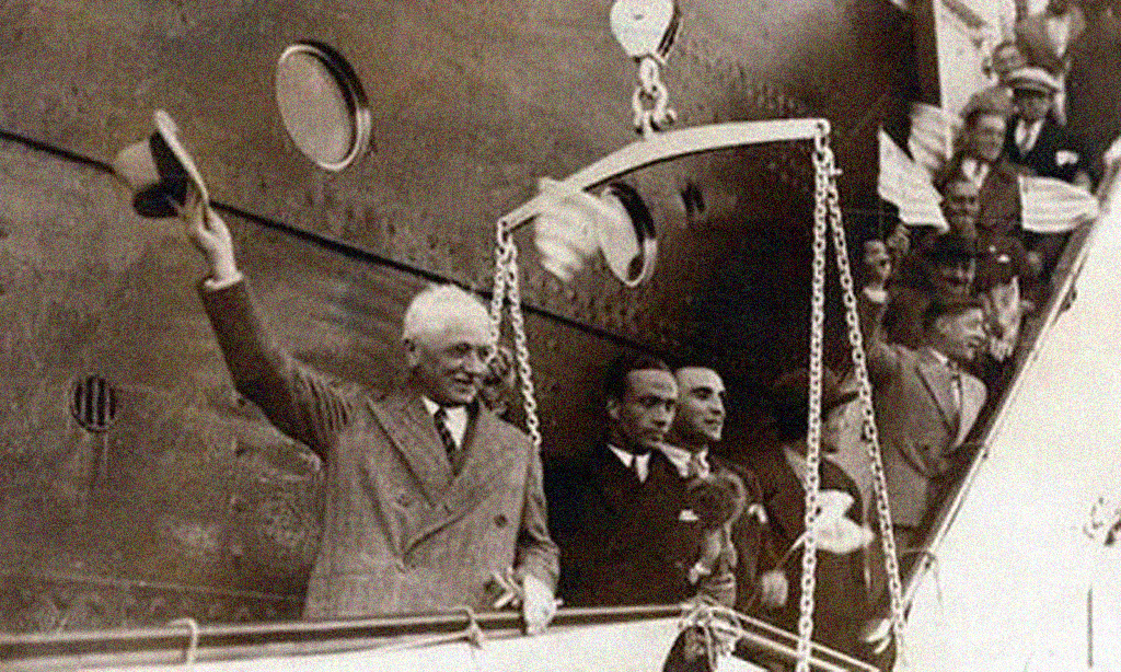 Sport. Football. World Cup Finals.  Montevideo,Uruguay. 1930. F.I.F.A. President Jules Rimet waves as he arrives to attend the first World Cup tournament.