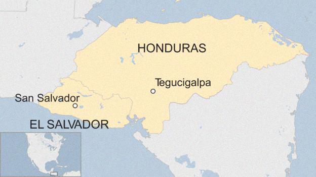 Mapa dos países Honduras e El Salvador