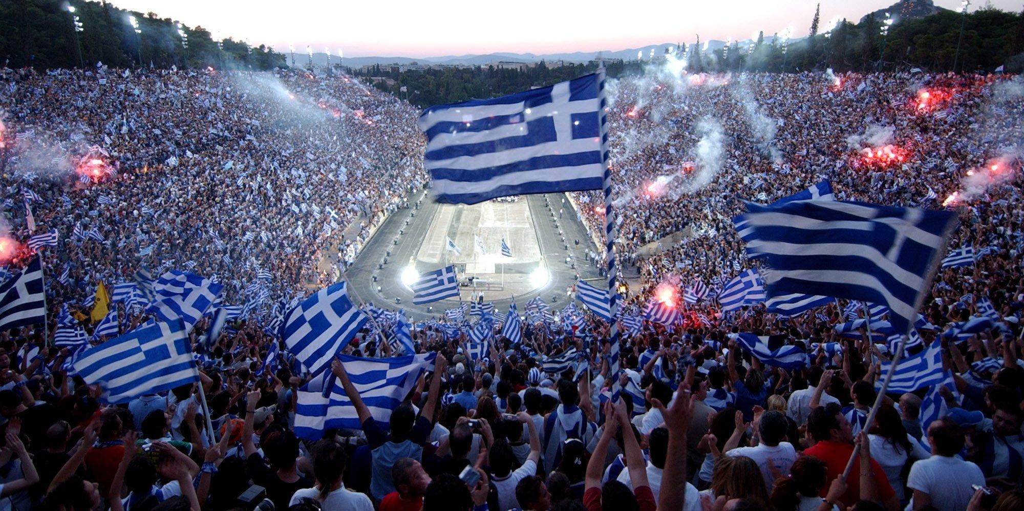 Comemoração dos torcedores gregos em 2004.