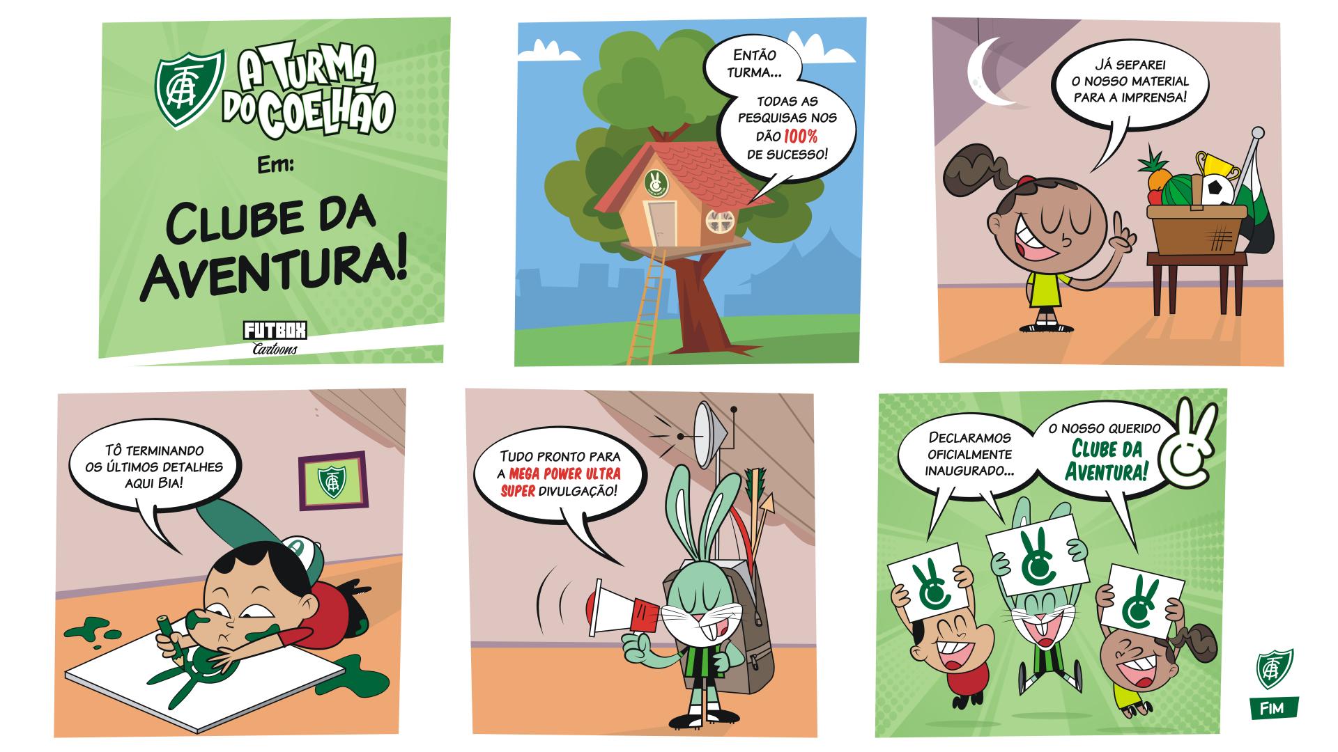 """""""A Turma do Coelhão"""" e """"Clube da Aventura"""": duas marcas enriquecendo o mesmo projeto."""